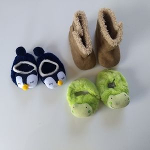 ✨ 5/$25✨ Set of Three 0-3 Mo Slippers and Boots